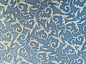 Blue and White French Scroll Work Custom Made Cotton Cloth Mask