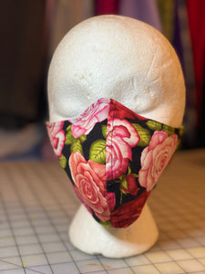 Red Roses on Black Background Custom Made Cotton Cloth Mask
