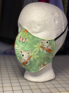 Cutie Koalas with Bees and Butterflies on Sage Green Custom Made Cotton Cloth Mask