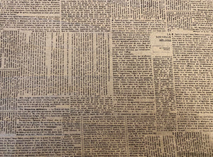 French Newspaper Type Print on Grey Custom Made Cotton Cloth Mask