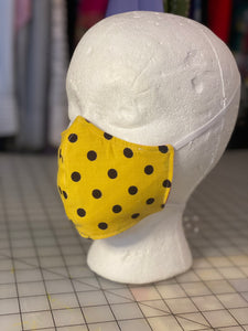Mustard Yellow with Black Dots Cotton Custom Made Cloth Mask