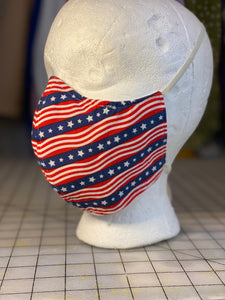 Americana Fourth of July Flag Cotton Cloth Mask