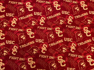 "USC Trojan College Football ""Fight On"" Red and Yellow Print Custom Made Cotton Cloth Mask"