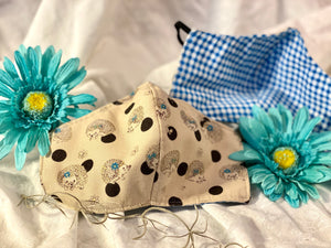 Adorable Hedgehogs with Blue Flowers and Gold Metallic Spines Custom Made Cotton Cloth Mask