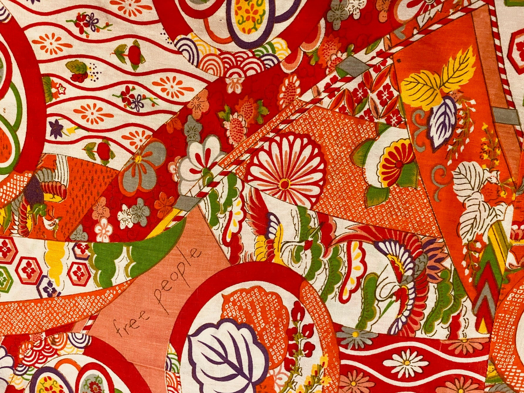 Free People Japanese Inspired Print in Orange Custom Made Cotton Cloth Mask