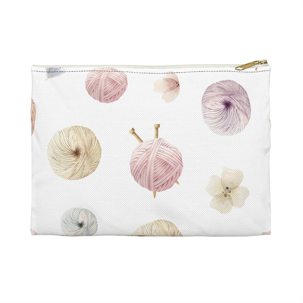 Flowers and Yarn Accessory Pouch