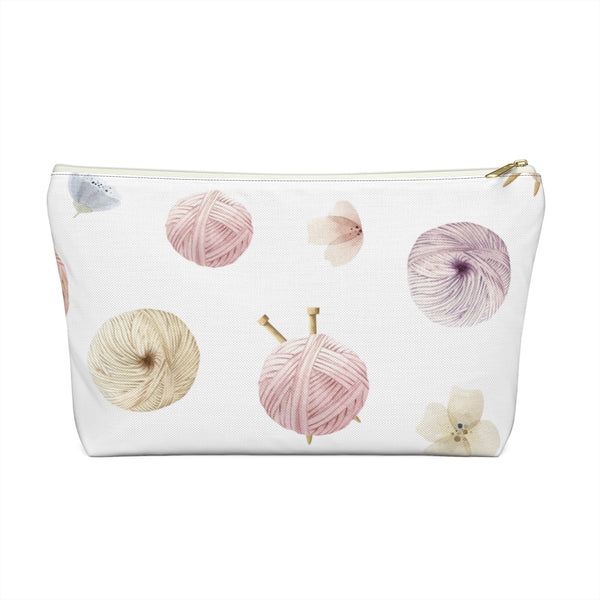 Flowers and Yarn Accessory Pouch w T-bottom