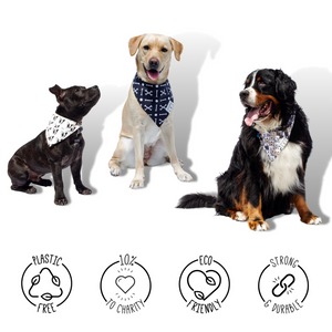 Pure Cotton Dog Bandanas - 10% to Charity - Set of 3 Fun Scarves for Pets - Washable Neckerchief with Durable Fabric, Cute Colors - Doggy Accessories & Gifts, Comes in Cardboard Box