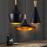Set of Black Modern ceiling wood and aluminum LED pendant light - Home To Home Store