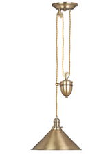 Elstead Provence One Light Rise and Fall Pendent Ceiling Light, in Aged Brass