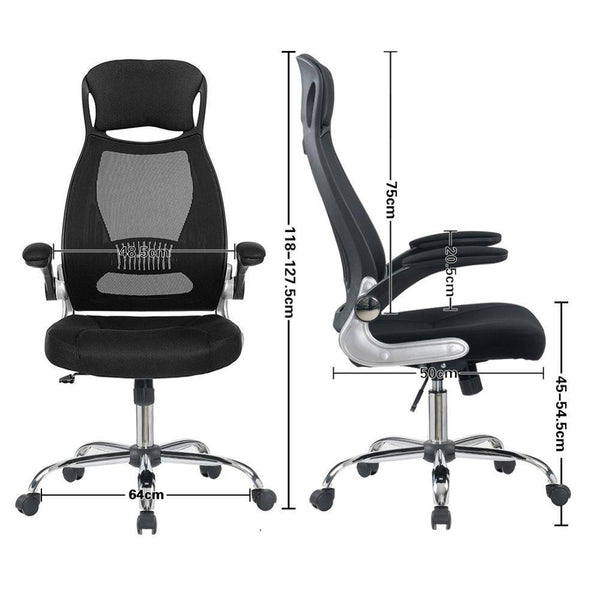 Office Chair High Back Padded Desk Chair With Foldable Armrest Head Support Luxury - Home To Home Store