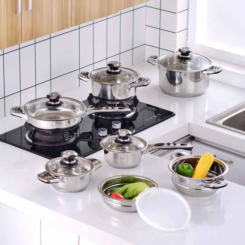 Velaze Cookware Set Stainless Steel 16-Piece Cooking Pot&Pan Set Induction Include Saucepan,Casserole,Salad Bowl,Steaming Insert - Home To Home Store