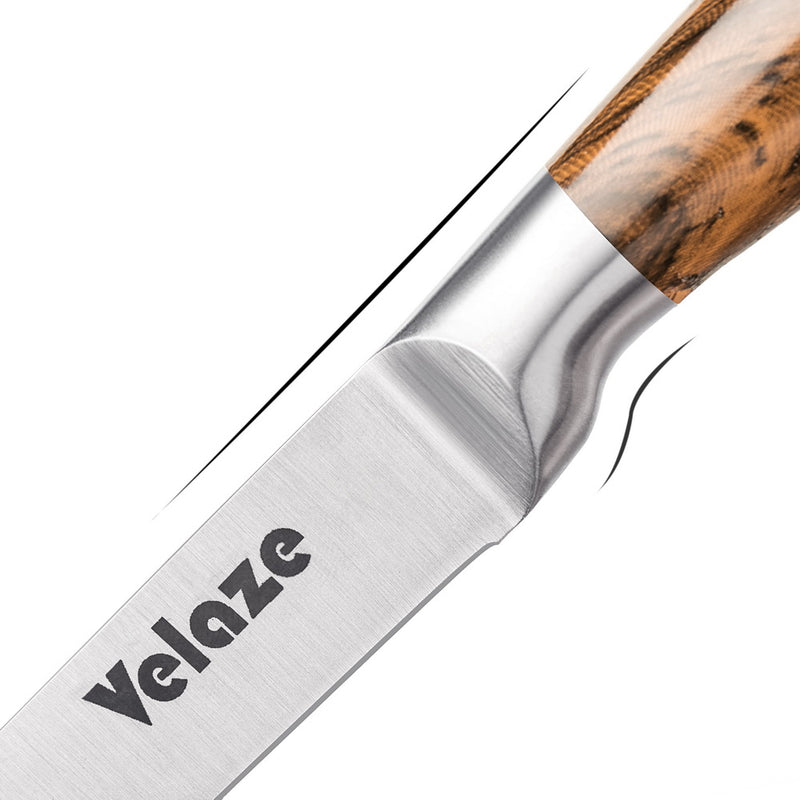 Velaze 8 Piece Stainless Steel Kitchen Knives Set wIth Sharpener in Spinning Block Brown - Home To Home Store