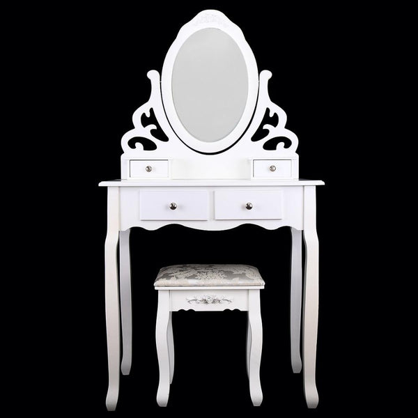 Dressing Table With Stool 4 Drawers Oval Mirror - Home To Home Store