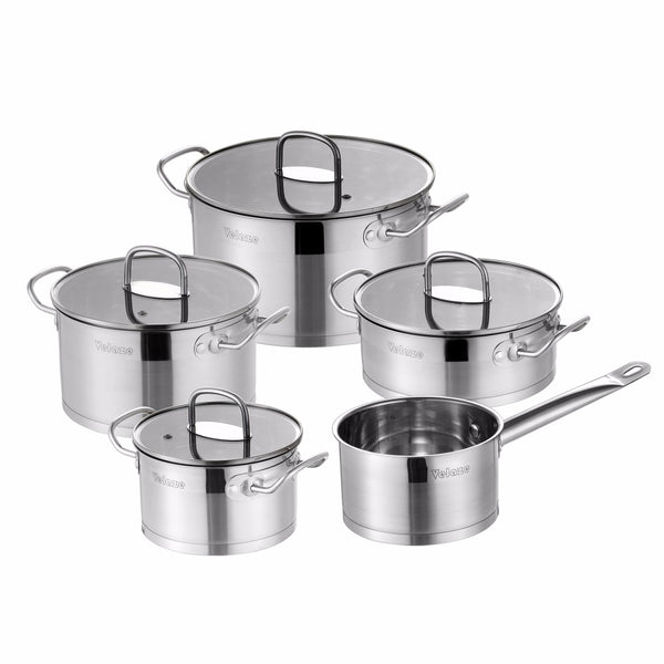 Velaze Kitchen Cookware Set 9 Piece Stainless Steel Cooking Pot & Pan Sets, Induction Safe, Saucepan, Casserole,with Glass lid - Home To Home Store