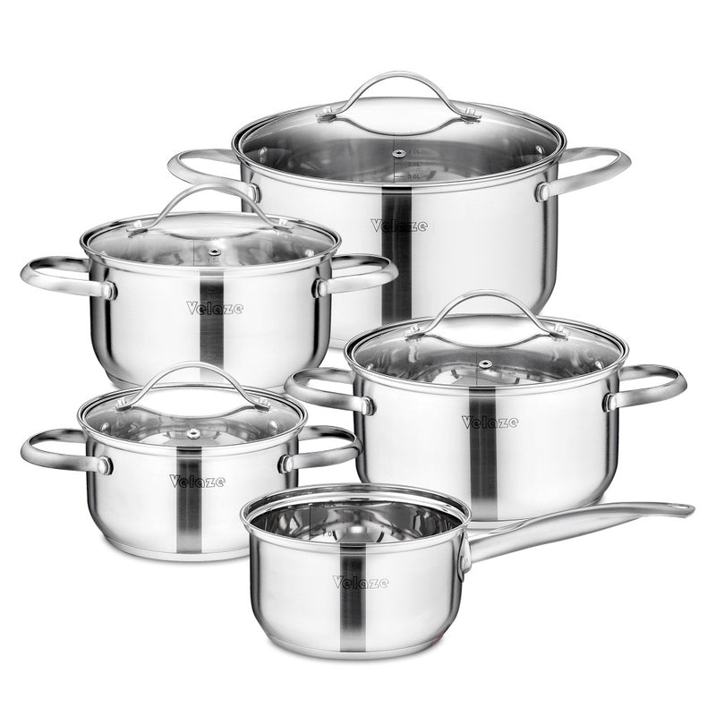 Velaze Cookware Set Kitchen Stainless Steel 9-Piece Cooking Pot Set,Induction Safe,Non Stick Saucepan,Casserole with Glass lid - Home To Home Store