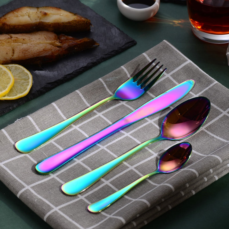 Velaze 48-Piece Stainless Steel Mirror Polished Rainbow Colorful Tableware Set - Home To Home Store