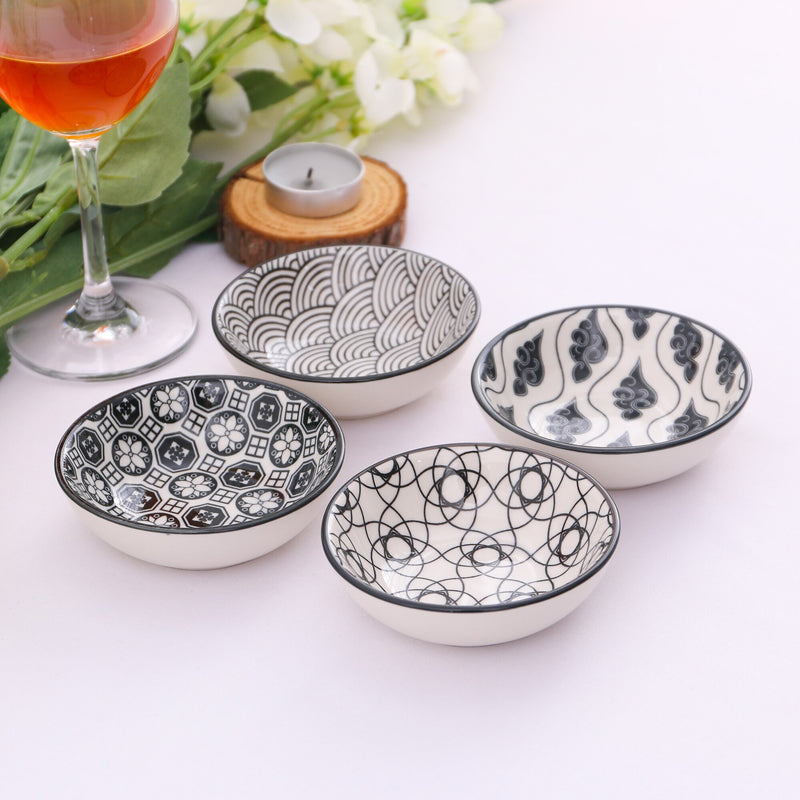 Vancasso Haruka 8-Pieces 4-Design Hand Painted Japanese Style Porcelain Tomato Sauce Dipping Dishes Plate Set(8.8*8.8*2.8cm) - Home To Home Store