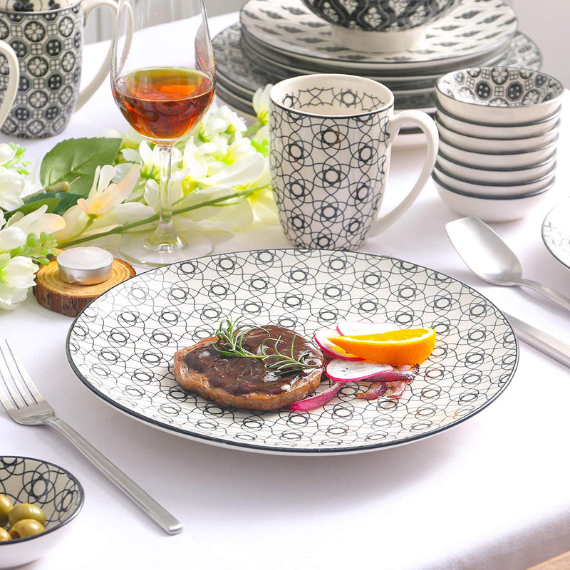 Vancasso Haruka 24 Pieces Porcelain Japanese Style Dinnerware Set  with 4*Dinner Plate,Dessert Plate,Bowl,Mug and 8*Dishes Set - Home To Home Store