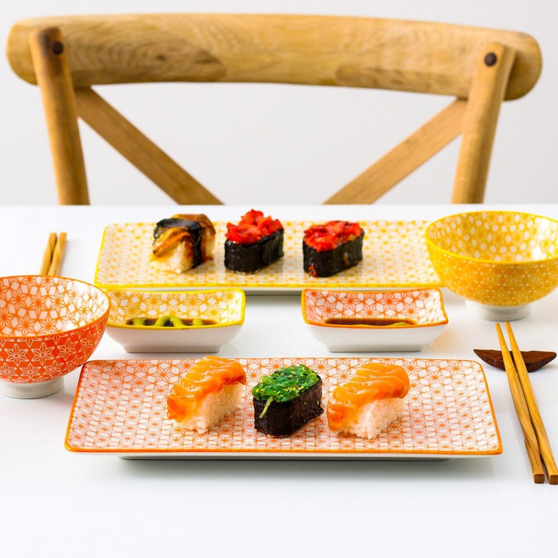 Vancasso Natsuki Japanese Style Porcelain Sushi Set with 2*Sushi Plate,Bowl,Dip Dishes,2 Pairs of Bamboo Chopsticks Set Gift Box - Home To Home Store