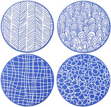 Vancasso TAKAKI 4-Piece Japanese Style Ceramic Round Table Pot Mats Pads Set with Non-Slip Cork Base for Family Office and Bar - Home To Home Store