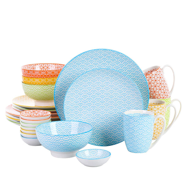Vancasso Natsuki 24-Pieces Japanese Style Porcelain Dinnerware Set with 4*Dinner Plate,Dessert Plate,Bowl,Mug and 8*Dipping Dish - Home To Home Store