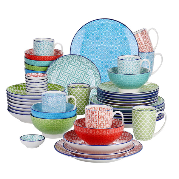 Vancasso Macaron 48-Pieces Porcelain Dinnerware Set with 8*Dinner Plate,Dessert Plate,Soup Plate,Bowl,Mug and 8*Dipping Dish - Home To Home Store