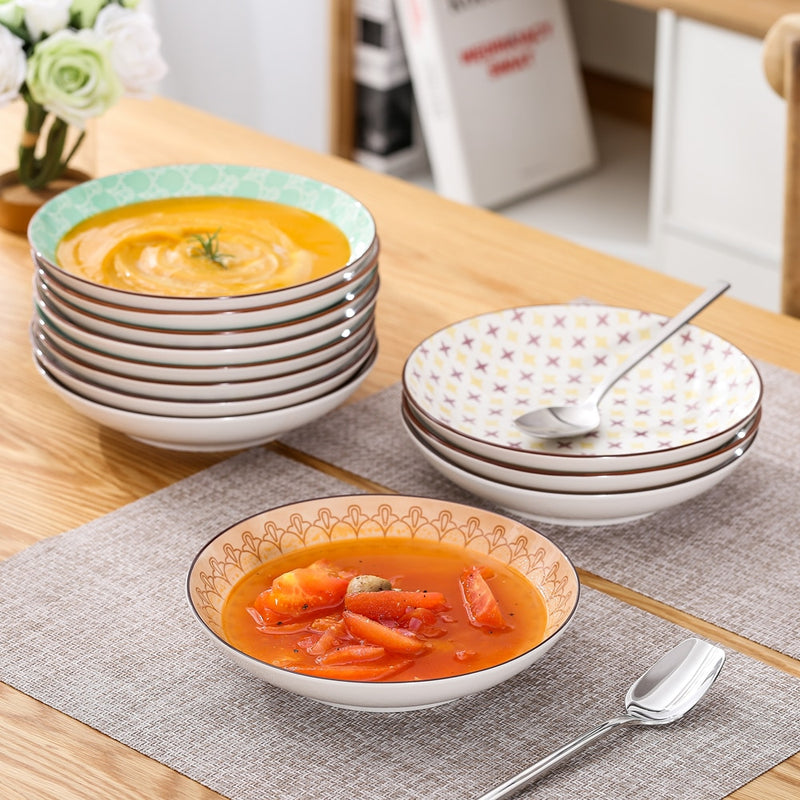 Vancasso Tulip 4/8/12 Pieces Multi Colour Hand Painted Soup Plate Set (21.5*21.5*4.5cm) - Home To Home Store