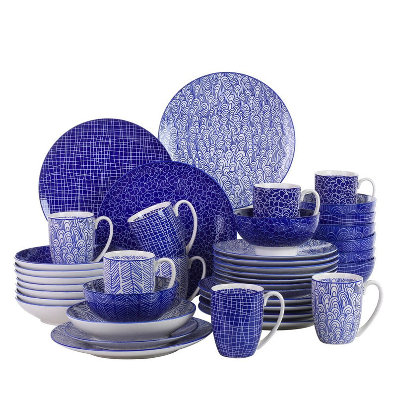 Vancasso TAKAKI 40-Pieces 4 Designs Porcelain Japanese Style Dinner Set Cwith Dinner Plate,Dessert Plate,Soup Plate,Bowl,Mug Set - Home To Home Store