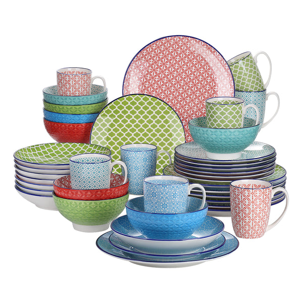 Vancasso Macaron 40-Pieces Porcelain Multi-Colour Dinnerware Set with 8*Dinner Plate,Dessert Plate,Soup Plate,Bowl,Mug Set - Home To Home Store