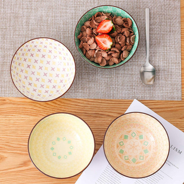 "Vancasso Tulip 8/12-Piece 6"" Mandala Pattern 600ML Porcelain Cereal Bowls Large Ceramic Rice/Ice Cream/Snack/Soup/Fruit/Noodle Bowl - Home To Home Store"