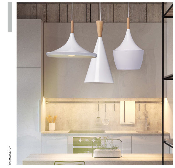 Set of Modern ceiling wood and aluminum LED pendant light - Home To Home Store