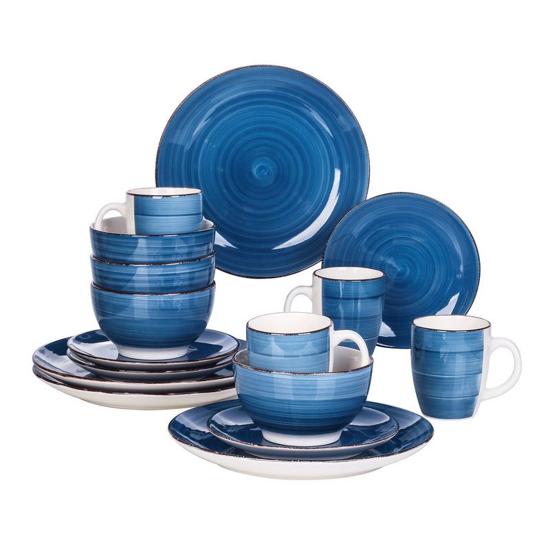 Vancasso Bella SKY Blue 16 Pieces Porcelain Dinner Set Vintage Look Ceramic Combination Set Service for 4 - Home To Home Store