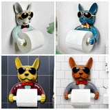 Toilet paper holder / dog image / No Drill - Home To Home Store