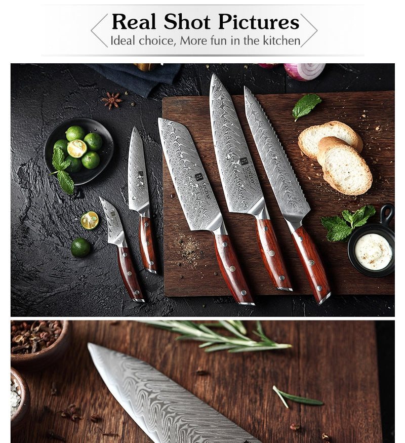 XINZUO 7 PCS Kitchen Knives Sets / Damascus Steel / Rosewood Handle in Top Quality Acacia Wood Holder - Home To Home Store