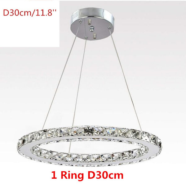 Modern K9 Crystal Led Chandelier 1 Ring - Home To Home Store