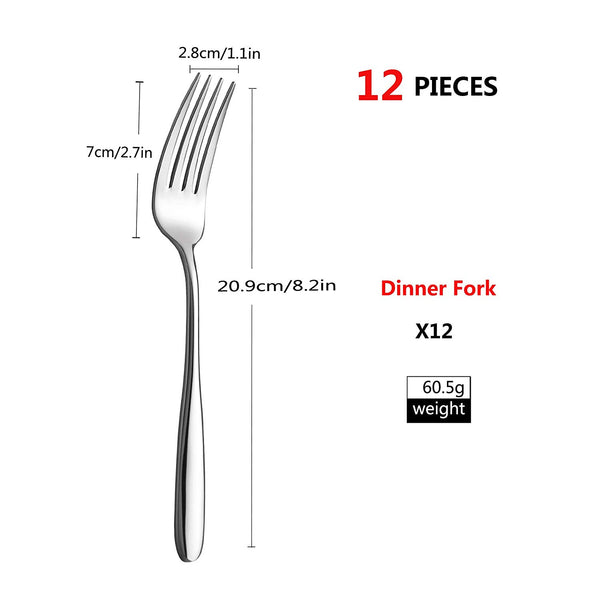Velaze 12-Piece Stainless Steel Mirror Polished Design Dinner Fork Set - Home To Home Store