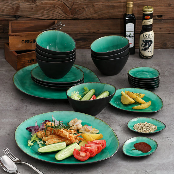 VANCASSO Coco 22-Piece Pottery Stoneware Vintage Ceramic Dinner Set with 8*Dipping Dishes&Bowl,2*Dinner Plate,4Dessert Plate Set - Home To Home Store