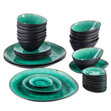 VANCASSO Coco 33-Piece Pottery Vintage Ceramic Dinner Set with 12*Dipping Dishes&Bowl,3*Dinner Plate,6*Dessert Plate Set - Home To Home Store