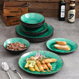 VANCASSO Coco 12-Piece Pottery Stoneware Vintage Look Ceramic Green Dinnerware Set with 4*Dinner Plate,Dessert Plate,Bowl Set - Home To Home Store