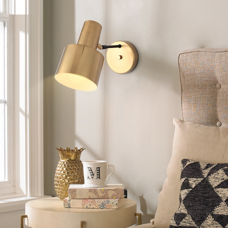 Nordic Bedroom Bedside Lamp Wall Lamp Simple Modern Aisle Corridor Hotel Golden Background Wall Lamp Creative LED Lamp - Home To Home Store