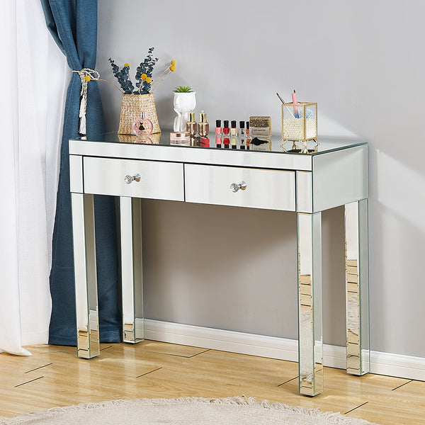 Whole Mirrored Glass Desk 2 Drawers Dressing Table - Home To Home Store