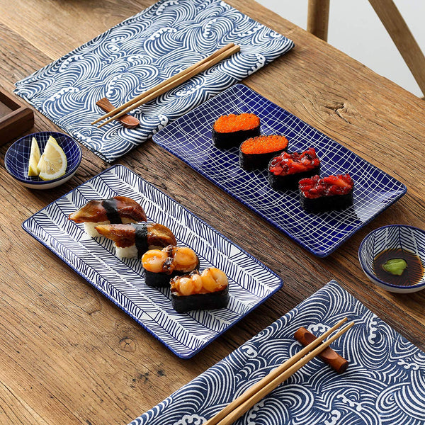 Vancasso Takaki Japanese Style Porcelain Sushi Plate Set with 2*Sushi Plates,Bowls,Dip Dishes,2 Pairs of Bamboo Chopsticks Gift - Home To Home Store