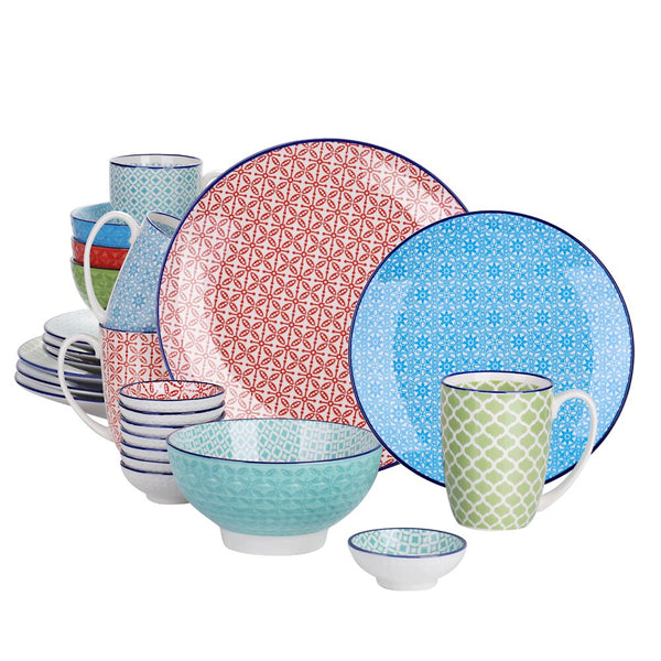 Vancasso Macaron 24-Pieces Porcelain Multi-Colour Dinnerware Set with 4*Dinner Plate,Dessert Plate,Bowl,Mug and 8*Dipping Dish - Home To Home Store