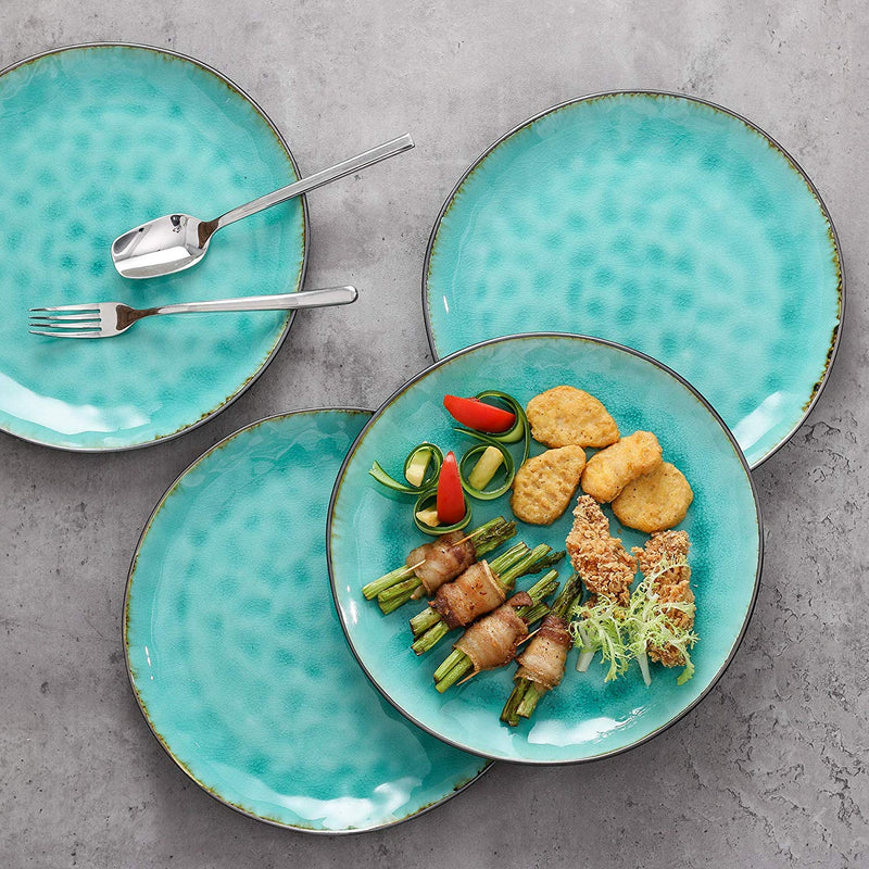 "Vancasso Aqua 4/8/12-Pieces Pottery Stoneware Vintage Ceramic Green Crockery 10.5"" - Home To Home Store"
