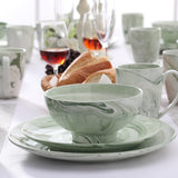 Vancasso CLAUDIA 32-Piece Green Pattern Ceramic Porcelain Dinnerware Plate Set Service for 8 - Home To Home Store