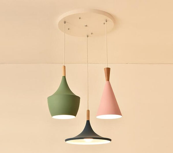 Modern ceiling wood and aluminum LED pendant light in 2 colors - Home To Home Store