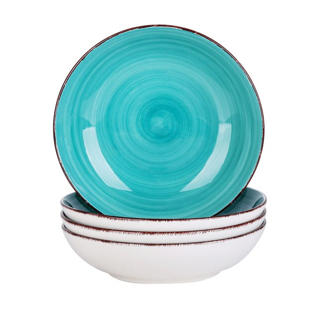 Vancasso Navia Bella-G 4/8/12 Pieces Vintage Look Handpainted Ceramic Soup Plate Set - Home To Home Store