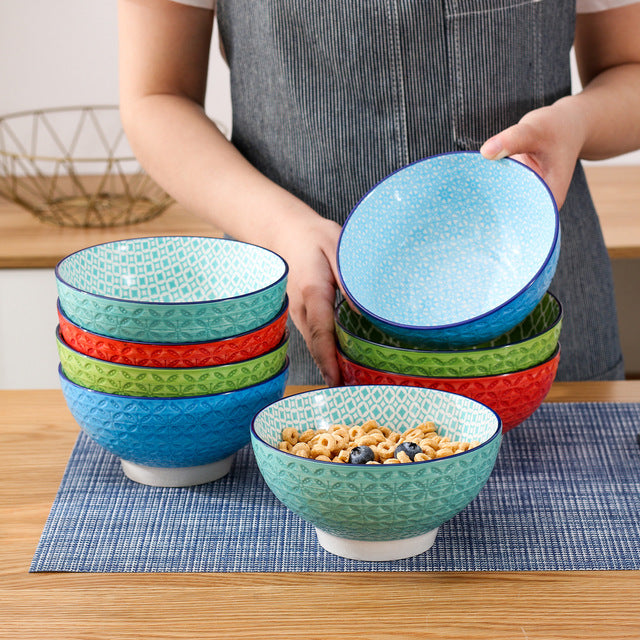 "Vancasso Macaron 4/8/12-Piece 6"" Porcelain Cereal Ceramic Large Bowls Rice/Snack/Soup/Fruit/Noodle Bowl (15.2*15.2*7.5cm) - Home To Home Store"