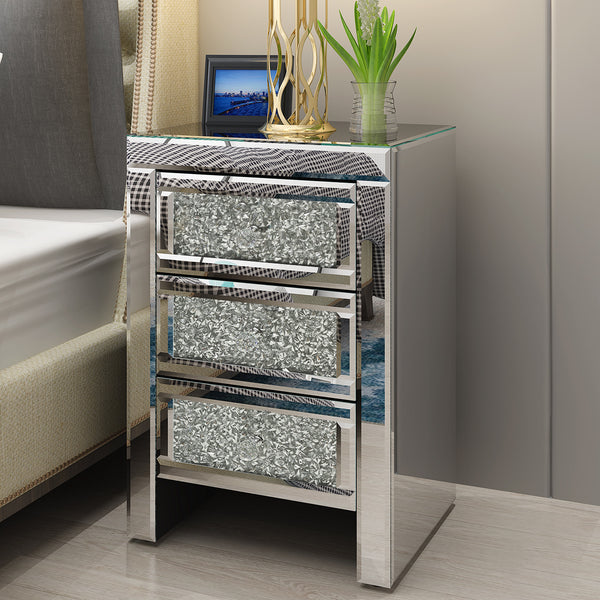 Pair Mirrored Crystal Glass Bedside Table 3 Drawer - Home To Home Store
